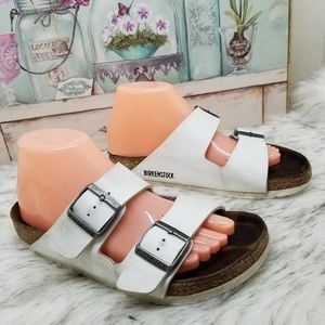 Birkenstock white double strap sandals